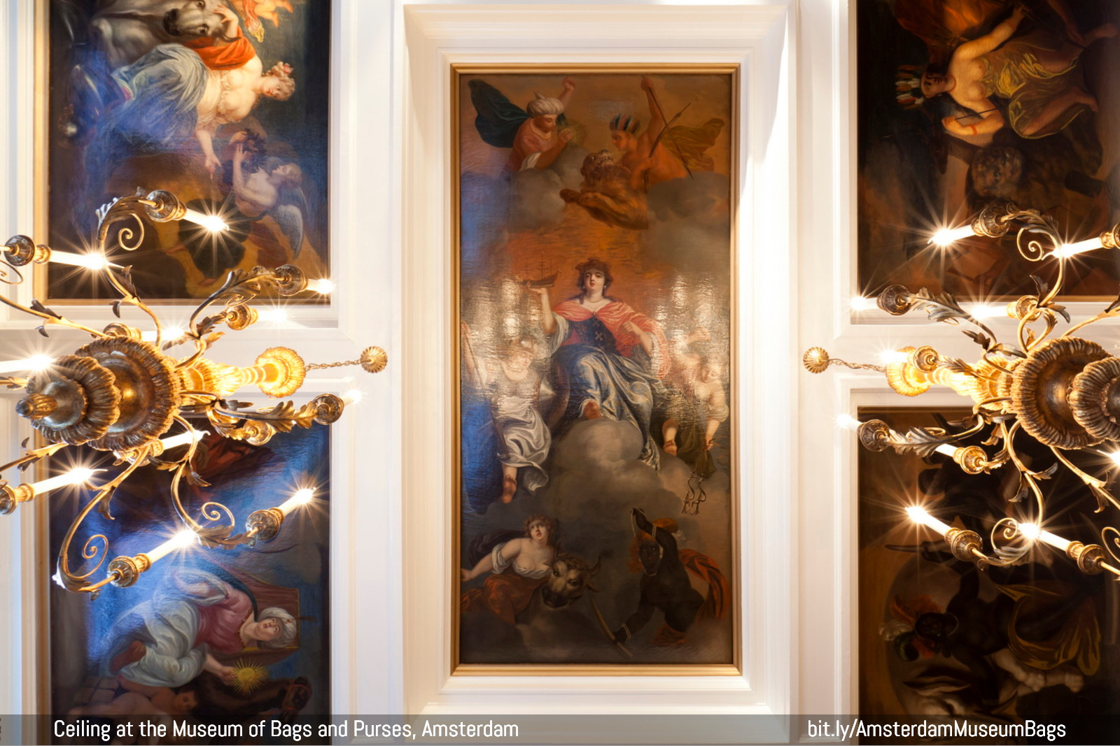 Ceiling painting depicting the allegorical patroness of Amsterdam surrounded by representations of Europe, Asia, Africa and America