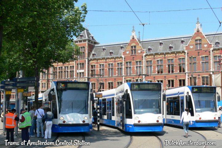 public  transport trams in Amsterdam