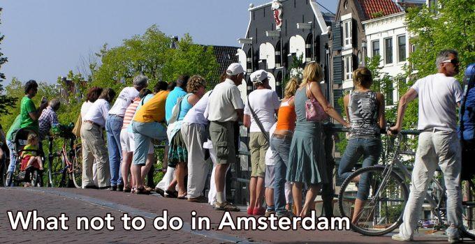 People on a bridge in Amsterdam