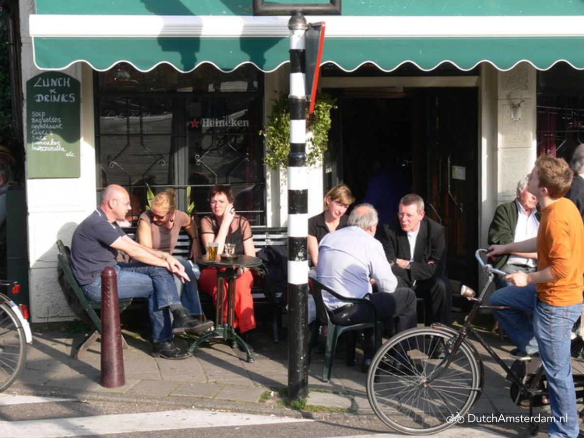Sidewalk terrace at Cafe Kalkhoven in Amsterdam