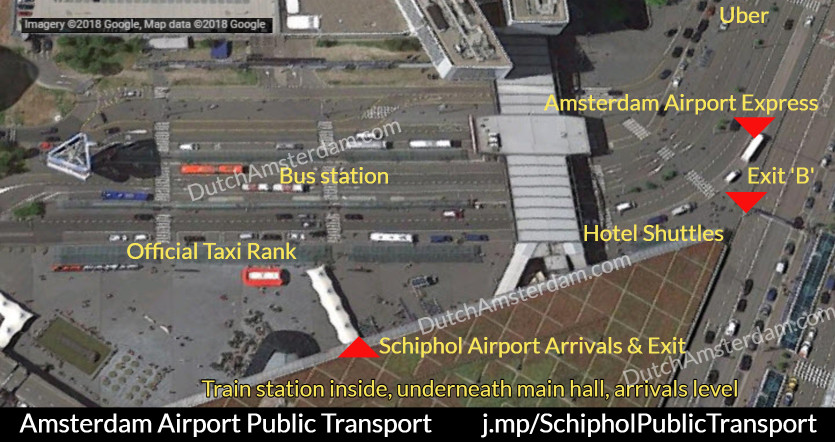 Map showing the location of public transport options at Amsterdam Airport Schiphol