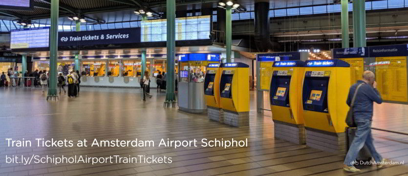Train ticket machines and service counter at Amsterdam Airport Schiphol