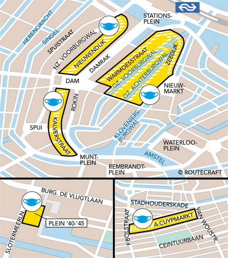Map of Amsterdam showing areas in which it is mandatory to wear face masks