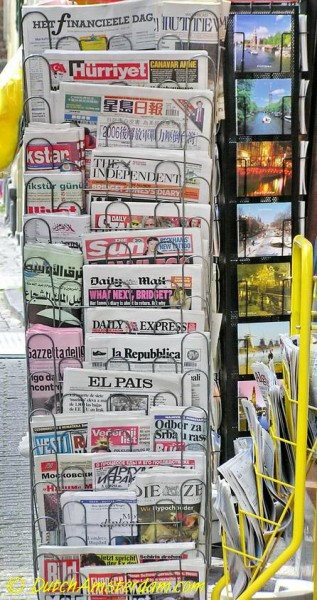 Many international newspapers are for sale in Amsterdam