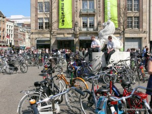 Bicycle labyrinth at Amsterdam Dam Square