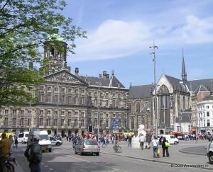 Royal Palace and New Church at Amsterdam Dam Square