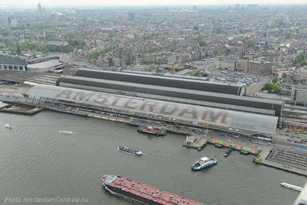 Roof covering bus terminal at Amsterdam Central Station