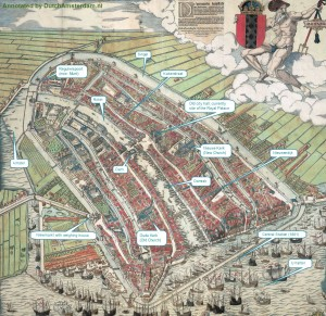 Old map of Amsterdam